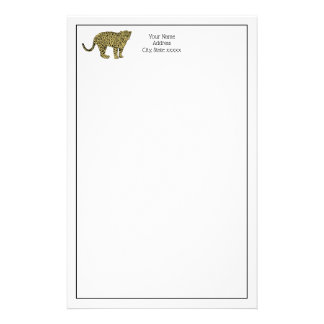Vintage Leopard Cheetah Spotted Cat Drawing Stationery