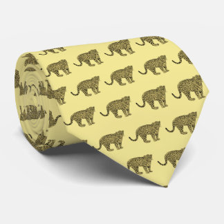 Vintage Leopard Cheetah Spotted Cat Drawing Tie
