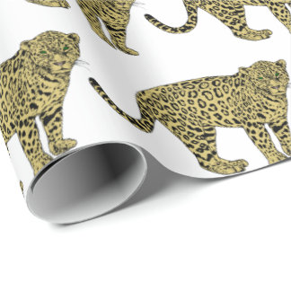 Vintage Leopard Cheetah Spotted Cat Drawing Wrapping Paper