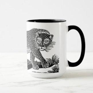 Vintage Leopard Mug Black & White Ringer Mug