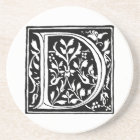Vintage Letter D Monogram Black and White Monogram Coaster