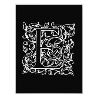 Vintage Letter E Monogram Black White Monogrammed Photo Print