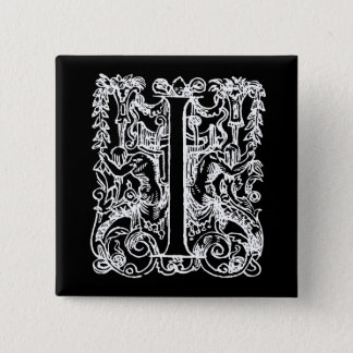"Vintage Letter I Monogram Black White ""I"" Initials 2 Inch Square Button"