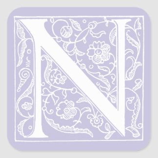 "Vintage Letter N Monogram Pale Purple Lavender ""N"" Square Sticker"