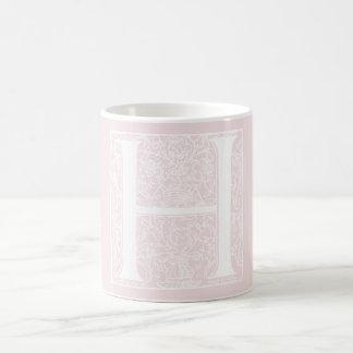 "Vintage Letter N Monogram Rose Pink ""H"" Initials Coffee Mug"