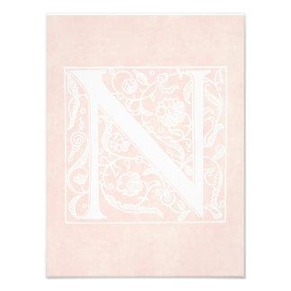 """Vintage Letter N Monogram Rose Pink Parchment """"N"""" Art Photo"""