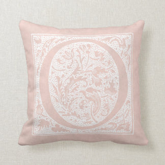 "Vintage Letter O Monogram Rose Pink ""O"" Initials Throw Pillow"