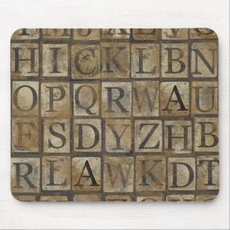 Vintage Letter Squares Collage Mousepad
