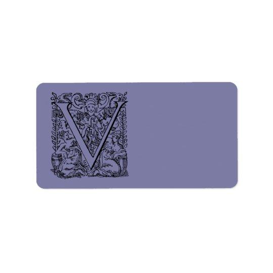 """Vintage Letter V Monogram Pale Purple Lavender """"V"""" Label"""