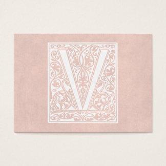 """Vintage Letter V Monogram Rose Pink Parchment """"V"""" Business Card"""