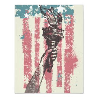 "Vintage Liberty Torch & Flag 4.25"" X 5.5"" Invitation Card"
