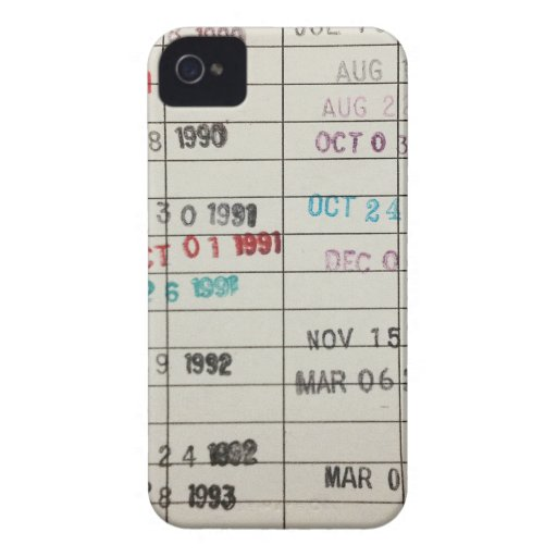 Vintage Library Due Date Cards Case-Mate iPhone 4 Case