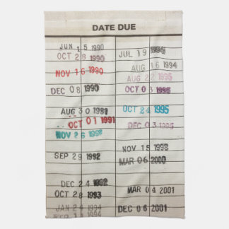 Vintage Library Due Date Cards Kitchen Towel