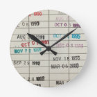 Vintage Library Due Date Cards Round Clock
