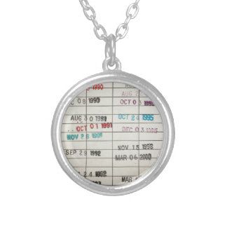 Vintage Library Due Date Cards Round Pendant Necklace