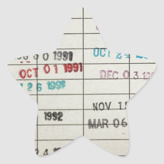 Vintage Library Due Date Cards Star Sticker