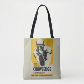 """Vintage Library Poster """"For Greater Knowledge"""" WPA Tote Bag"""