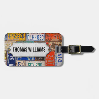 vintage license plates with metal tag