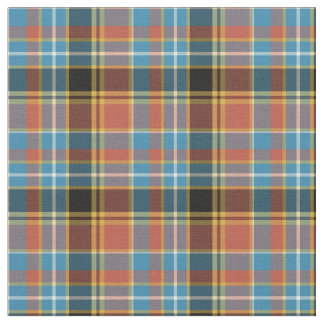 Vintage Light Blue, Burnt Orange and Gold Plaid Fabric