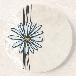 Vintage Light Blue Daisy Coaster