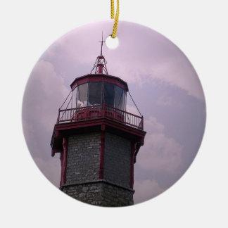 Vintage Light House - Toronto Centre Island Round Ceramic Ornament