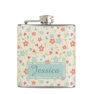 Vintage Light Spring Busy Floral Personalised Hip Flask