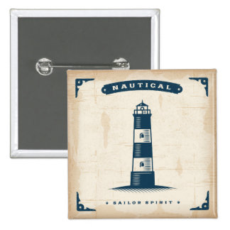 Vintage Lighthouse Poster 1 2 Inch Square Button