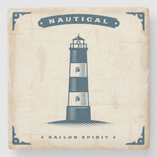Vintage Lighthouse Poster 1 Stone Coaster