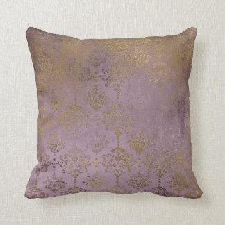 Vintage Lilac Damask Gold Crown Pillow