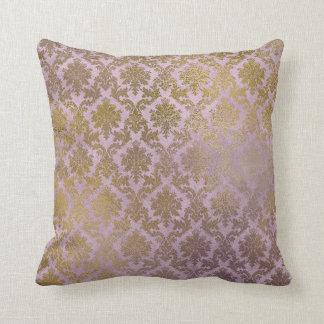 Vintage Lilac Damask Gold Pillow