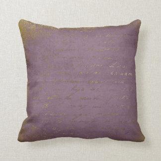 Vintage Lilac Diamond Gold Letter Pillow