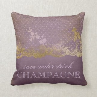 Vintage Lilac Lace Gold Save Water Drink Champagne Throw Pillow