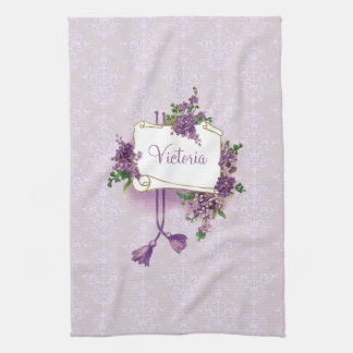 Vintage Lilacs Personalized Kitchen Towel