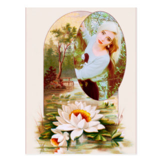 Vintage Lilly Pads Flower Frame for any Photo Postcard