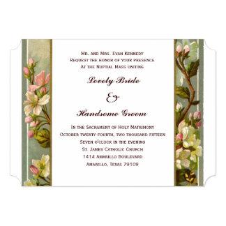 Vintage Lily Cross Catholic Wedding Invitation