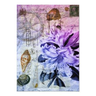 "vintage lily floral beach wedding bridal shower 4.5"" x 6.25"" invitation card"