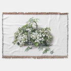 Vintage Lily of the Valley Flower Basket Afghan Throw Blanket