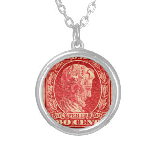 Vintage Lincoln Postage Stamp Silver Plated Necklace