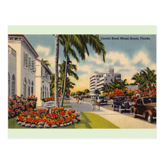 Vintage Lincoln Road Miami Beach Florida Postcard