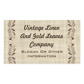 Vintage Linen & Gold Leaves Business Cards