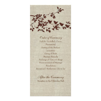 Vintage Linen Silhouette Birds Wedding Program Full Colour Rack Card