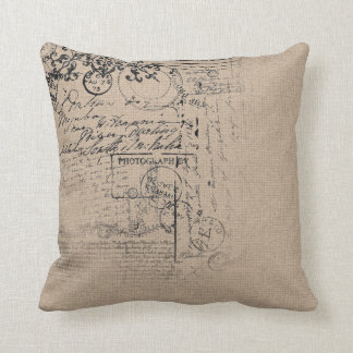 Vintage linen texture design throw pillow