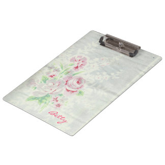 Vintage Linen with Cabbage Roses Clipboard
