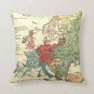 Vintage Linguistic Map of Europe (1907) Throw Pillow