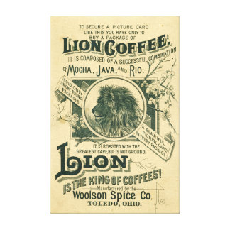 Vintage Lion Coffee Mocha Java Rio Advertisement Canvas Print