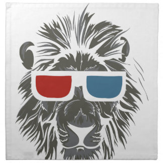 vintage lion design with color gases napkin