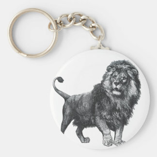Vintage lion drawing, paw lifted looking left keychain