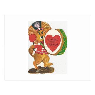 Vintage Lion Drummer Valentine Postcard