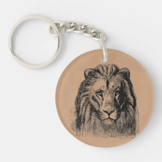 Vintage Lion Head 1800s Large Game Cats Lions Keychain