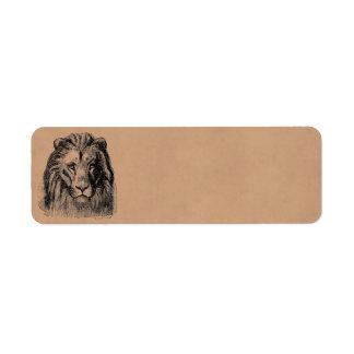 Vintage Lion Head 1800s Large Game Cats Lions Return Address Label
